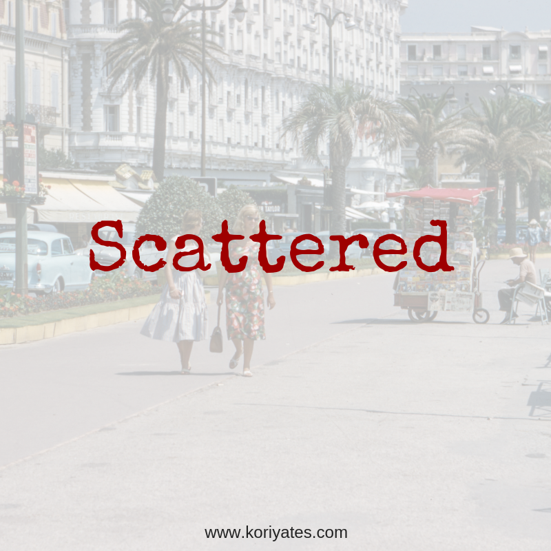 Title graphic with two ladies walking down the palm tree street in the 1950's - the word Scattered.